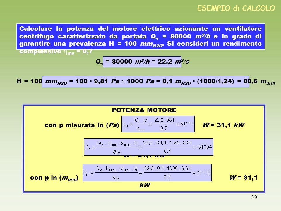 39 ESEMPIO di CALCOLO Calcolare la potenza del motore elettrico azionante un ventilatore centrifugo caratterizzato da portata Q v = 80000 m 3 /h e in