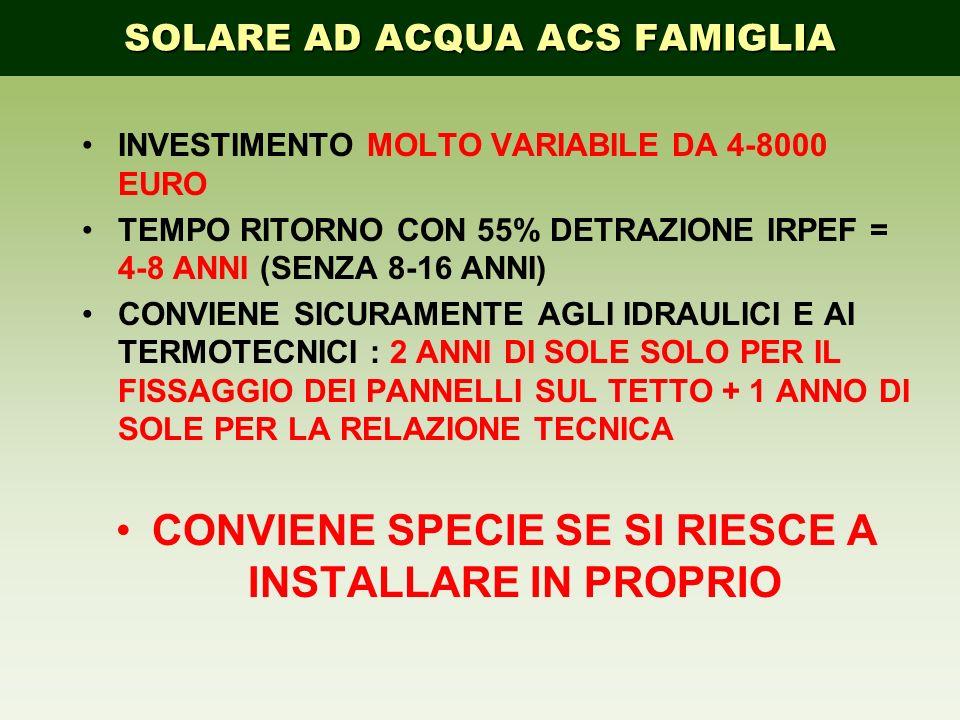 INVESTIMENTO MOLTO VARIABILE DA 4-8000 EURO TEMPO RITORNO CON 55% DETRAZIONE IRPEF = 4-8 ANNI (SENZA 8-16 ANNI) CONVIENE SICURAMENTE AGLI IDRAULICI E
