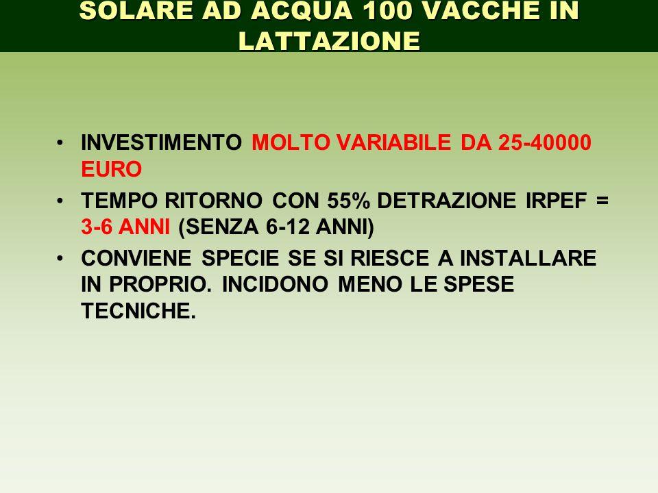 INVESTIMENTO MOLTO VARIABILE DA 25-40000 EURO TEMPO RITORNO CON 55% DETRAZIONE IRPEF = 3-6 ANNI (SENZA 6-12 ANNI) CONVIENE SPECIE SE SI RIESCE A INSTA