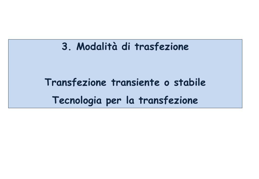 3. Modalità di trasfezione Transfezione transiente o stabile Tecnologia per la transfezione