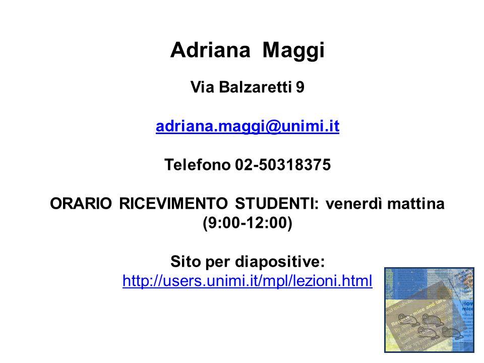 Adriana Maggi Via Balzaretti 9 adriana.maggi@unimi.it Telefono 02-50318375 ORARIO RICEVIMENTO STUDENTI: venerdì mattina (9:00-12:00) Sito per diapositive: http://users.unimi.it/mpl/lezioni.html
