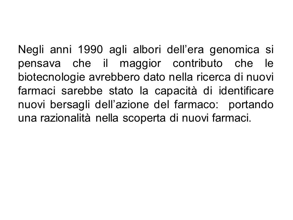 Negli anni 1990 agli albori dellera genomica si pensava che il maggior contributo che le biotecnologie avrebbero dato nella ricerca di nuovi farmaci sarebbe stato la capacità di identificare nuovi bersagli dellazione del farmaco: portando una razionalità nella scoperta di nuovi farmaci.