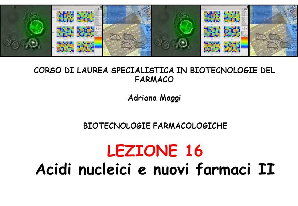 BIOTECNOLOGIE FARMACOLOGICHE LEZIONE 16 Acidi nucleici e nuovi farmaci II CORSO DI LAUREA SPECIALISTICA IN BIOTECNOLOGIE DEL FARMACO Adriana Maggi