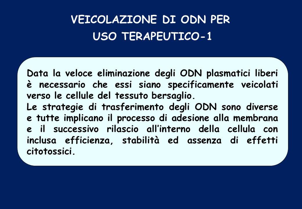 VEICOLAZIONE DI ODN PER USO TERAPEUTICO-1 Data la veloce eliminazione degli ODN plasmatici liberi è necessario che essi siano specificamente veicolati