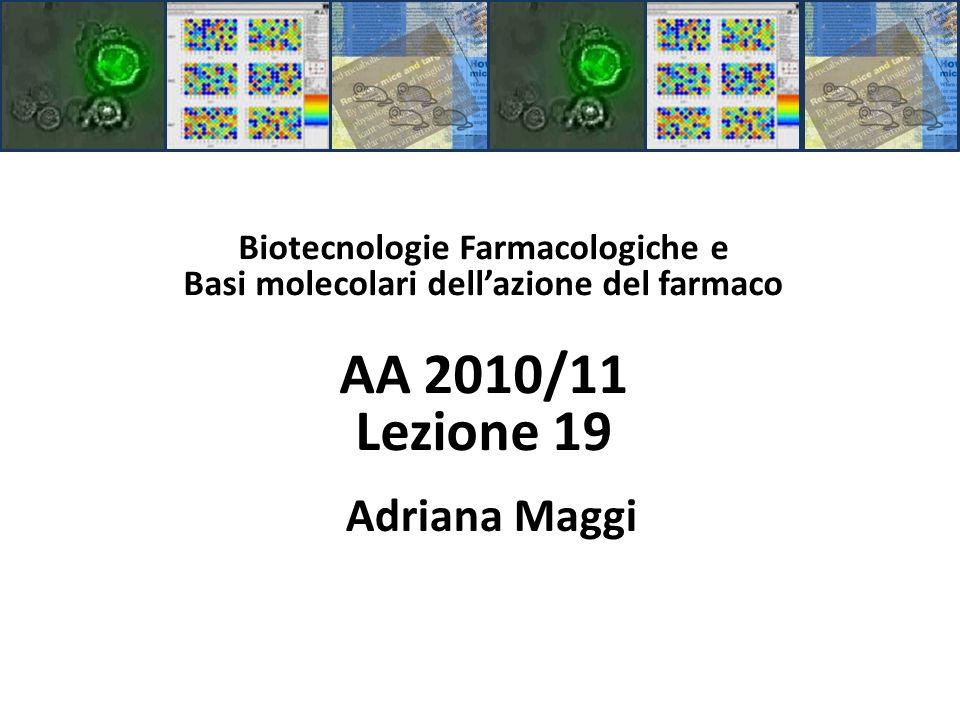 Biotecnologie Farmacologiche e Basi molecolari dellazione del farmaco AA 2010/11 Lezione 19 Adriana Maggi