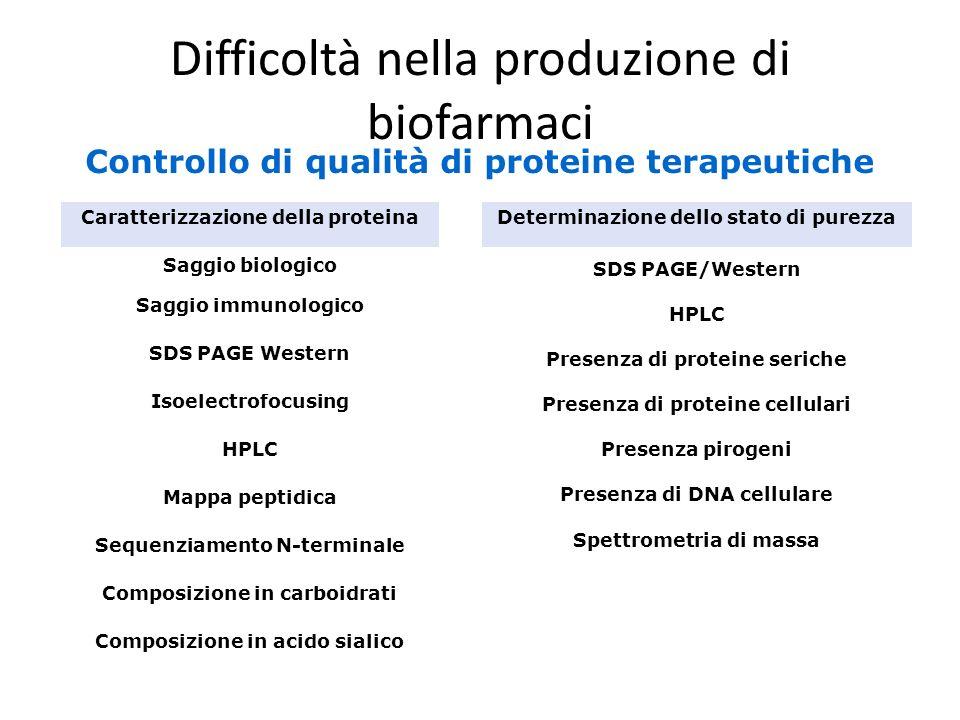 Difficoltà nella produzione di biofarmaci Spettrometria di massa Presenza di DNA cellulare Presenza pirogeni Presenza di proteine cellulari Presenza d