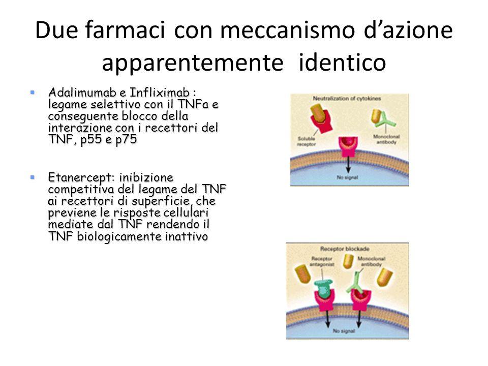 Due farmaci con meccanismo dazione apparentemente identico Adalimumab e Infliximab : legame selettivo con il TNFa e conseguente blocco della interazio