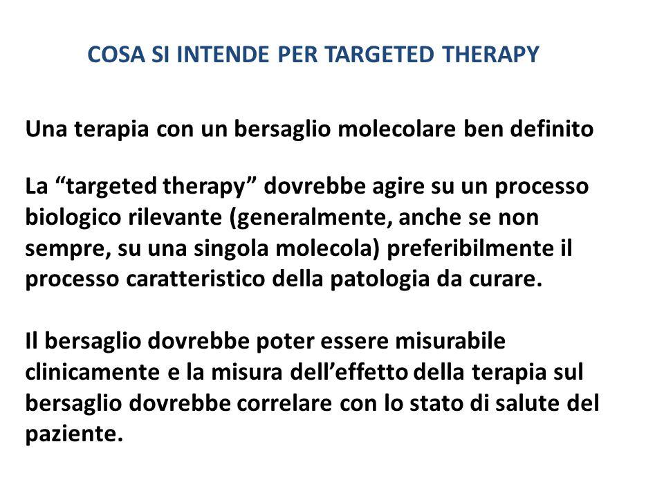 Una terapia con un bersaglio molecolare ben definito COSA SI INTENDE PER TARGETED THERAPY La targeted therapy dovrebbe agire su un processo biologico