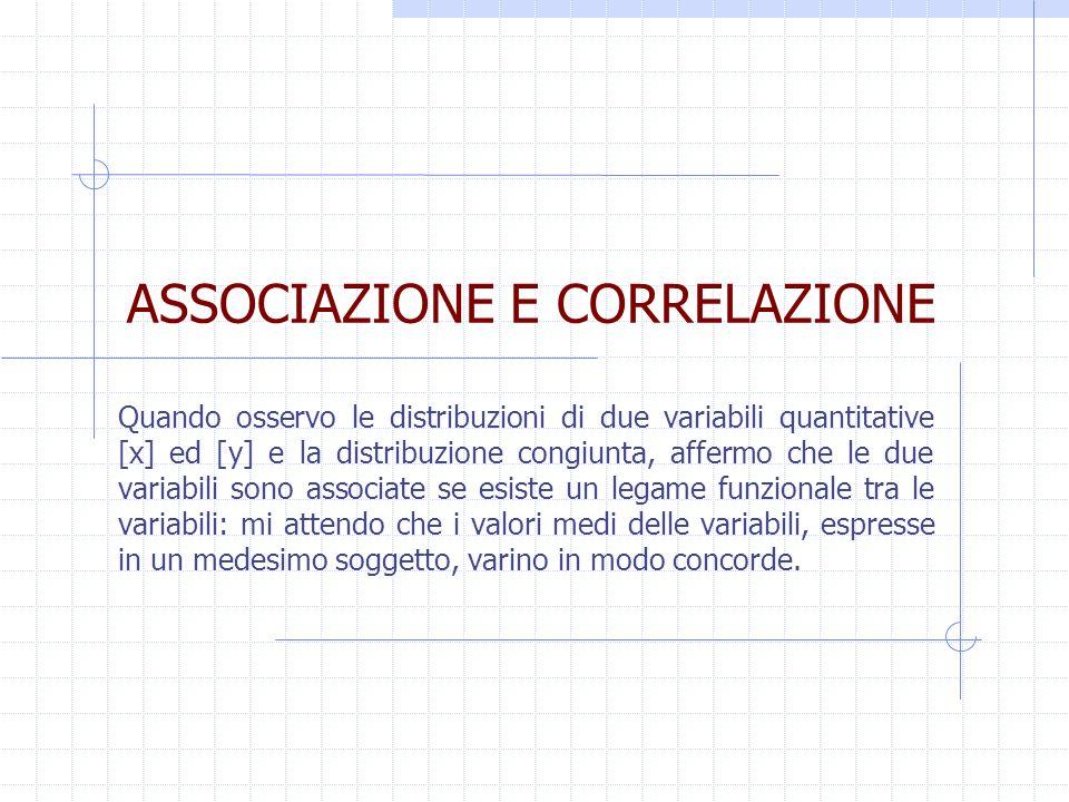 ASSOCIAZIONE E CORRELAZIONE Quando osservo le distribuzioni di due variabili quantitative [x] ed [y] e la distribuzione congiunta, affermo che le due
