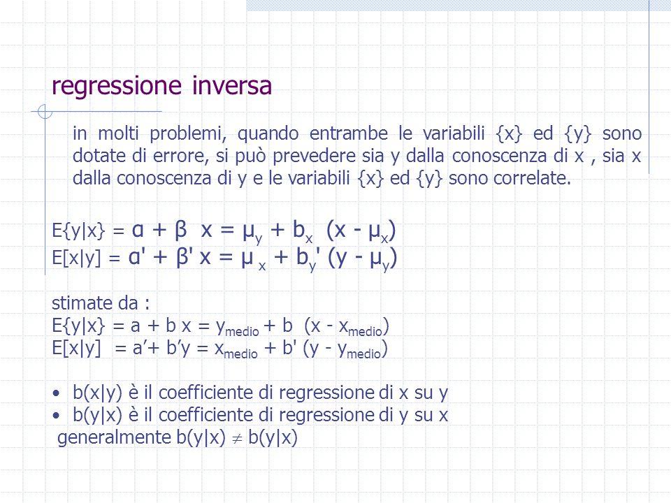 regressione inversa in molti problemi, quando entrambe le variabili {x} ed {y} sono dotate di errore, si può prevedere sia y dalla conoscenza di x, si