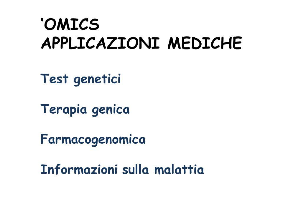 OMICS APPLICAZIONI MEDICHE Test genetici Terapia genica Farmacogenomica Informazioni sulla malattia