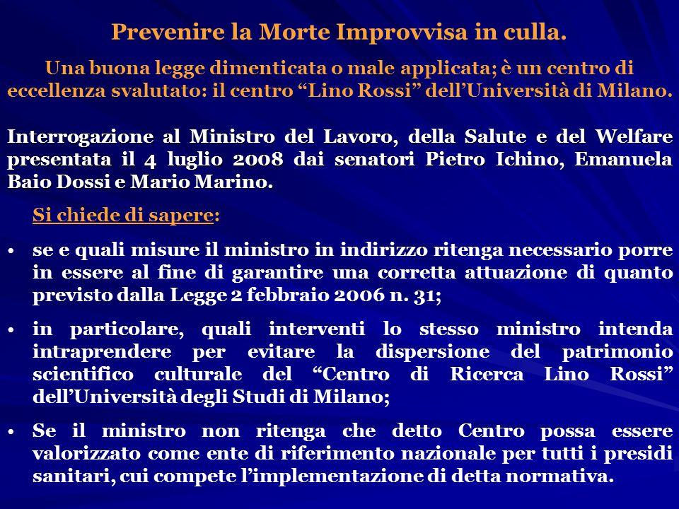 Interrogazione al Ministro del Lavoro, della Salute e del Welfare presentata il 4 luglio 2008 dai senatori Pietro Ichino, Emanuela Baio Dossi e Mario