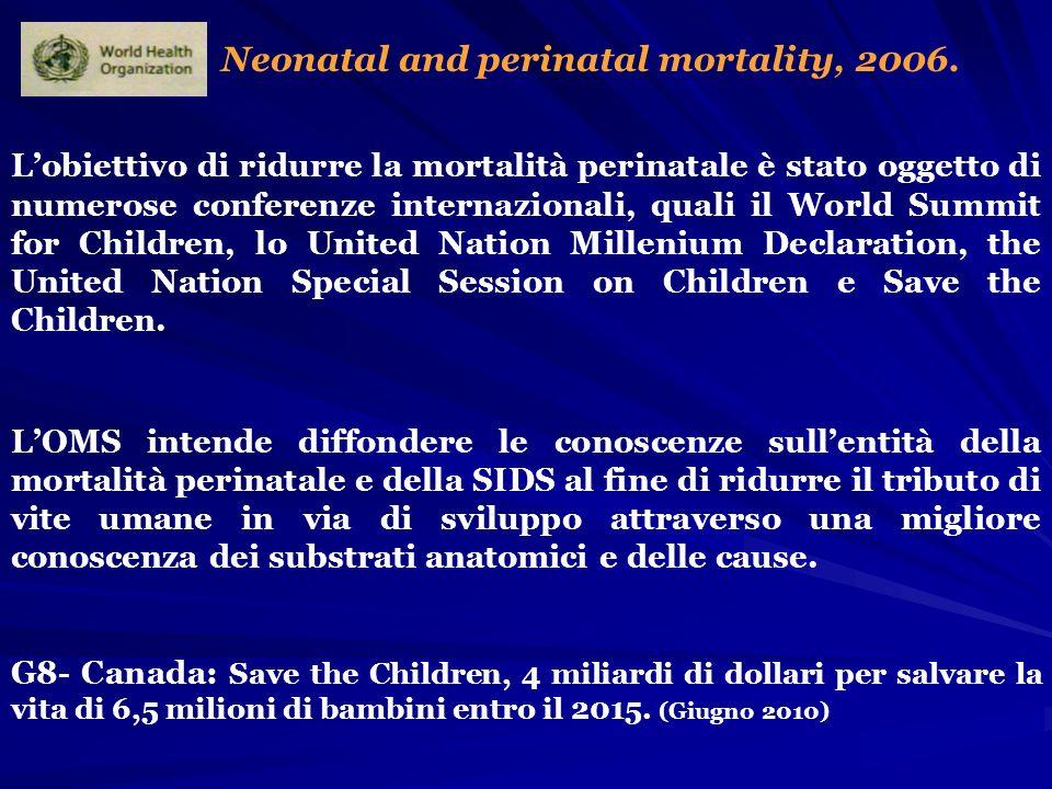 Neonatal and perinatal mortality, 2006. Lobiettivo di ridurre la mortalità perinatale è stato oggetto di numerose conferenze internazionali, quali il