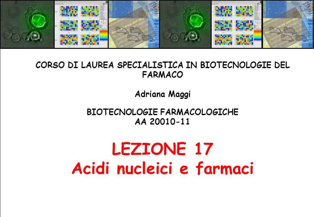 BIOTECNOLOGIE FARMACOLOGICHE AA 20010-11 LEZIONE 17 Acidi nucleici e farmaci CORSO DI LAUREA SPECIALISTICA IN BIOTECNOLOGIE DEL FARMACO Adriana Maggi