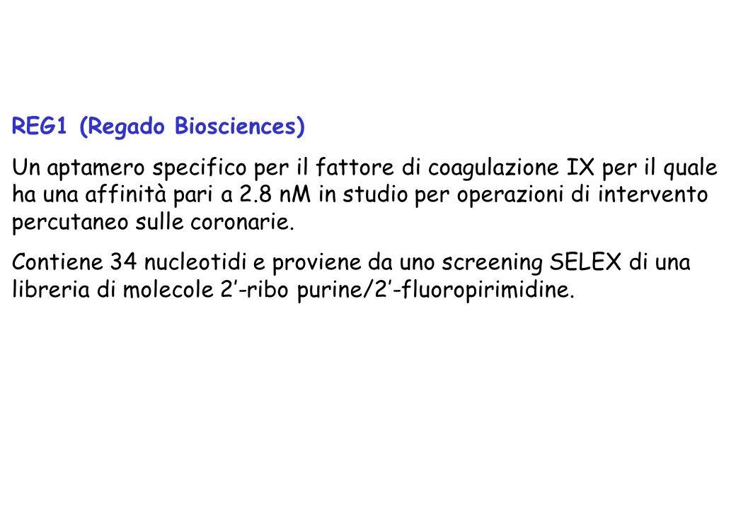 REG1 (Regado Biosciences) Un aptamero specifico per il fattore di coagulazione IX per il quale ha una affinità pari a 2.8 nM in studio per operazioni