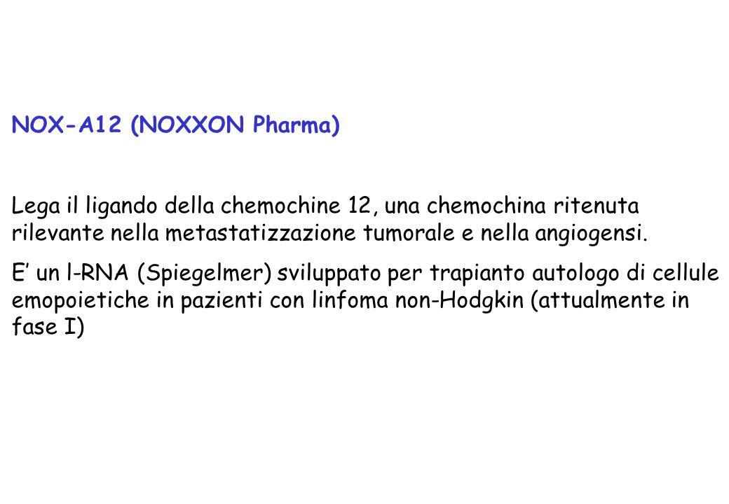 NOX-A12 (NOXXON Pharma) Lega il ligando della chemochine 12, una chemochina ritenuta rilevante nella metastatizzazione tumorale e nella angiogensi. E