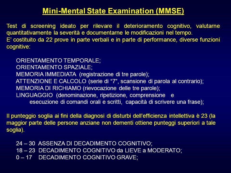 Mini-Mental State Examination (MMSE) Test di screening ideato per rilevare il deterioramento cognitivo, valutarne quantitativamente la severità e docu