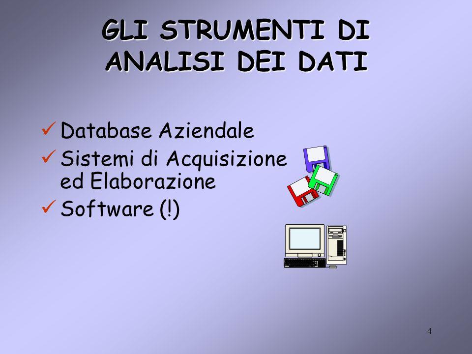 4 GLI STRUMENTI DI ANALISI DEI DATI Database Aziendale Sistemi di Acquisizione ed Elaborazione Software (!)