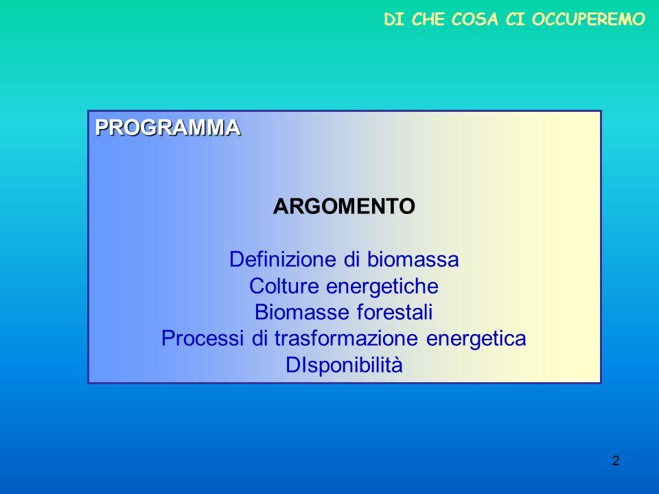 2 DI CHE COSA CI OCCUPEREMO PROGRAMMA ARGOMENTO Definizione di biomassa Colture energetiche Biomasse forestali Processi di trasformazione energetica D