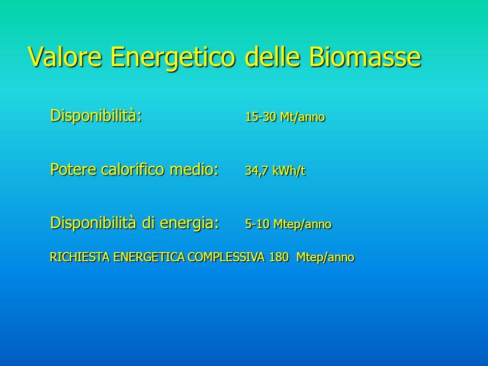Valore Energetico delle Biomasse Disponibilità: 15-30 Mt/anno Potere calorifico medio: 34,7 kWh/t Disponibilità di energia: 5-10 Mtep/anno RICHIESTA ENERGETICA COMPLESSIVA 180 Mtep/anno