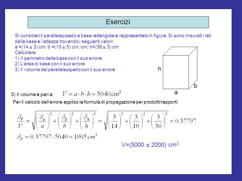 Esercizi Si consideri il parallelepipedo a base rettangolare rappresentato in figura. Si sono misurati i lati della base e laltezza trovando i seguent