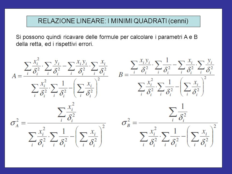 Si possono quindi ricavare delle formule per calcolare i parametri A e B della retta, ed i rispettivi errori. RELAZIONE LINEARE: I MINIMI QUADRATI (ce