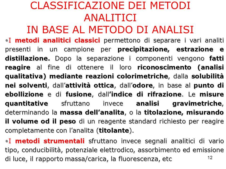 12 CLASSIFICAZIONE DEI METODI ANALITICI IN BASE AL METODO DI ANALISI I metodi analitici classici permettono di separare i vari analiti presenti in un