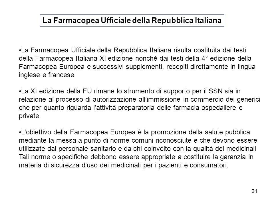21 La Farmacopea Ufficiale della Repubblica Italiana La Farmacopea Ufficiale della Repubblica Italiana risulta costituita dai testi della Farmacopea I