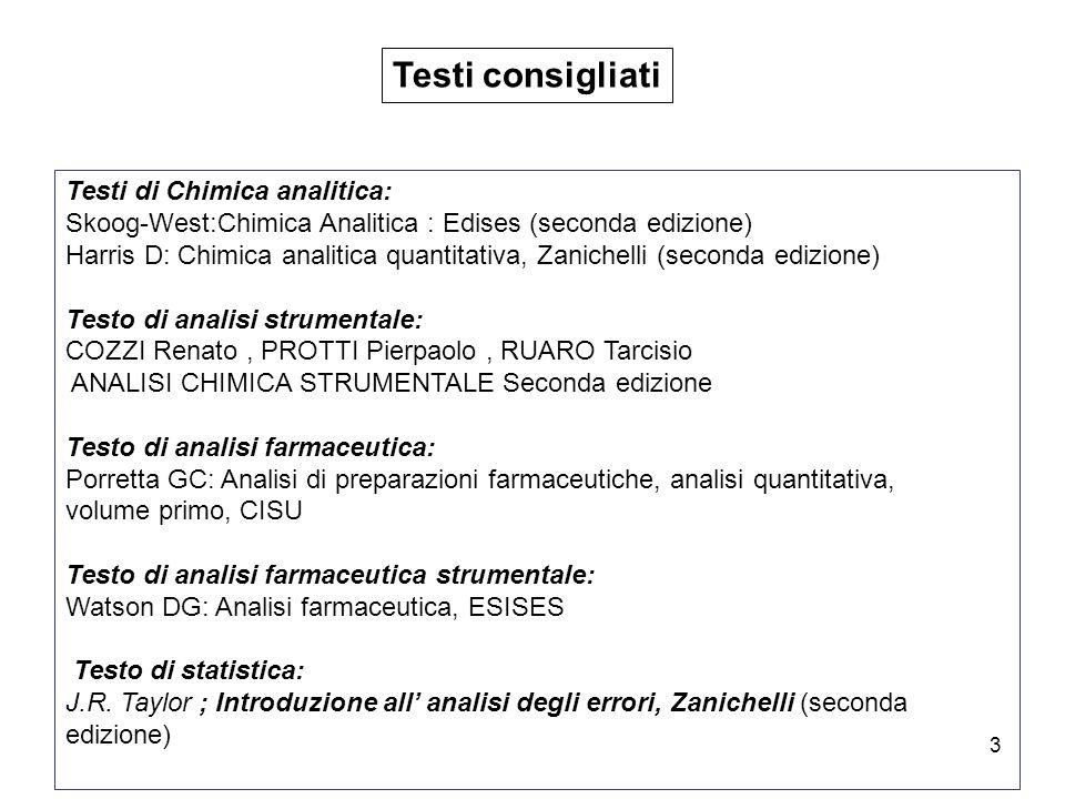 3 Testi consigliati Testi di Chimica analitica: Skoog-West:Chimica Analitica : Edises (seconda edizione) Harris D: Chimica analitica quantitativa, Zan