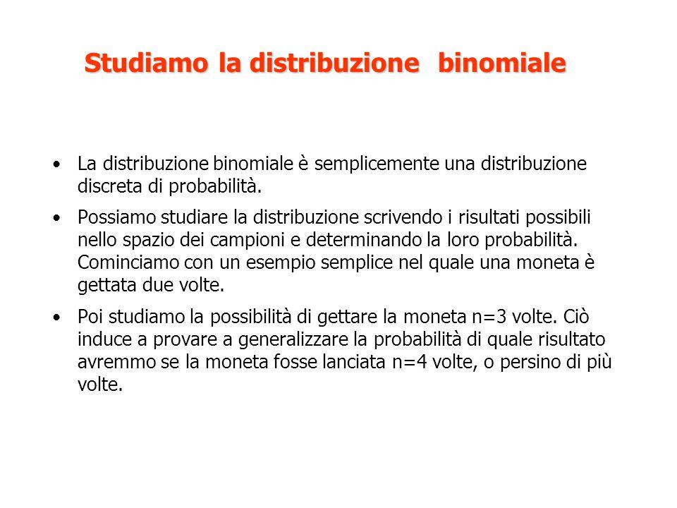 Studiamo la distribuzione binomiale La distribuzione binomiale è semplicemente una distribuzione discreta di probabilità.