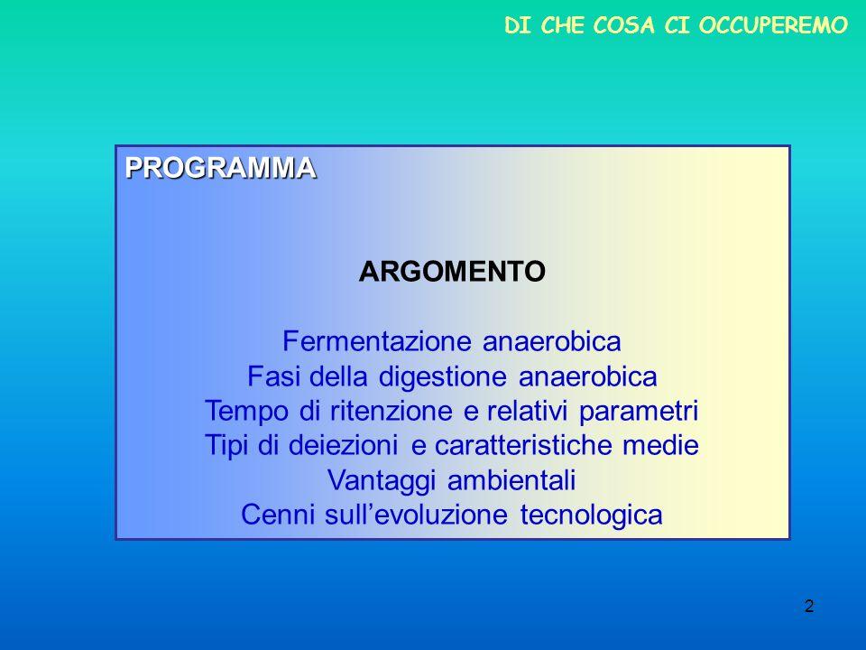 2 DI CHE COSA CI OCCUPEREMO PROGRAMMA ARGOMENTO Fermentazione anaerobica Fasi della digestione anaerobica Tempo di ritenzione e relativi parametri Tip