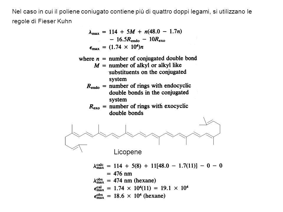 Nel caso in cui il poliene coniugato contiene più di quattro doppi legami, si utilizzano le regole di Fieser Kuhn Licopene