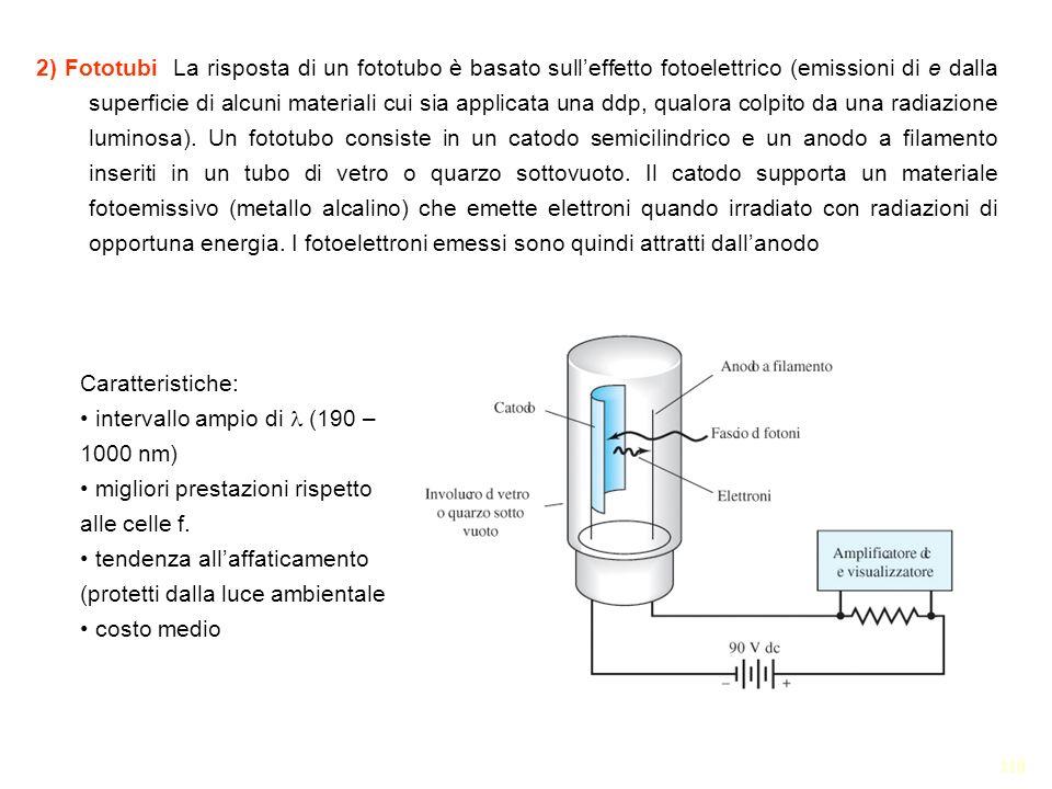 118 2) Fototubi La risposta di un fototubo è basato sulleffetto fotoelettrico (emissioni di e dalla superficie di alcuni materiali cui sia applicata u