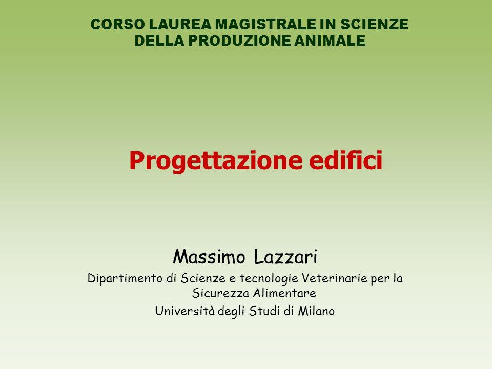 Progettazione edifici Massimo Lazzari Dipartimento di Scienze e tecnologie Veterinarie per la Sicurezza Alimentare Università degli Studi di Milano CO