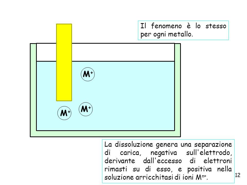 12 M+M+ M+M+ M+M+ La dissoluzione genera una separazione di carica, negativa sull'elettrodo, derivante dall'eccesso di elettroni rimasti su di esso, e