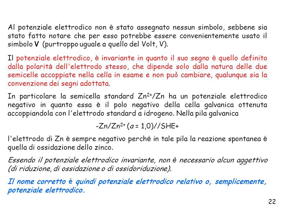 22 Al potenziale elettrodico non è stato assegnato nessun simbolo, sebbene sia stato fatto notare che per esso potrebbe essere convenientemente usato