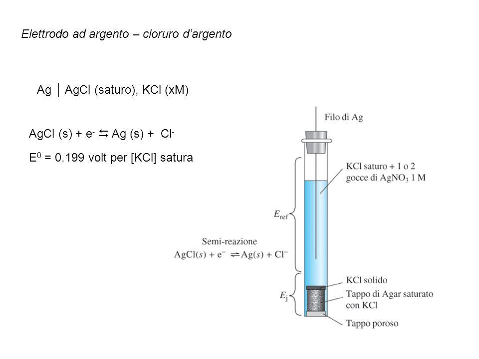 Elettrodo ad argento – cloruro dargento Ag AgCl (saturo), KCl (xM) AgCl (s) + e - Ag (s) + Cl - E 0 = 0.199 volt per [KCl] satura