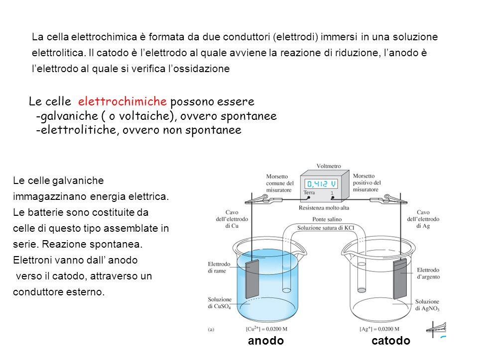 7 Cella galvanica (spontanea) potenziale di cella=E cella =E catodo -E anodo =0.412V –+ Il ponte salino isola i reagenti ma garantisce il contatto elettrico tra le due semicelle.