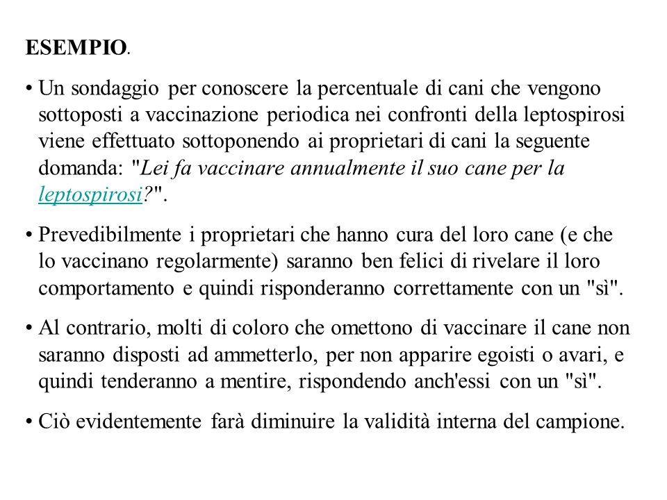 ESEMPIO. Un sondaggio per conoscere la percentuale di cani che vengono sottoposti a vaccinazione periodica nei confronti della leptospirosi viene effe