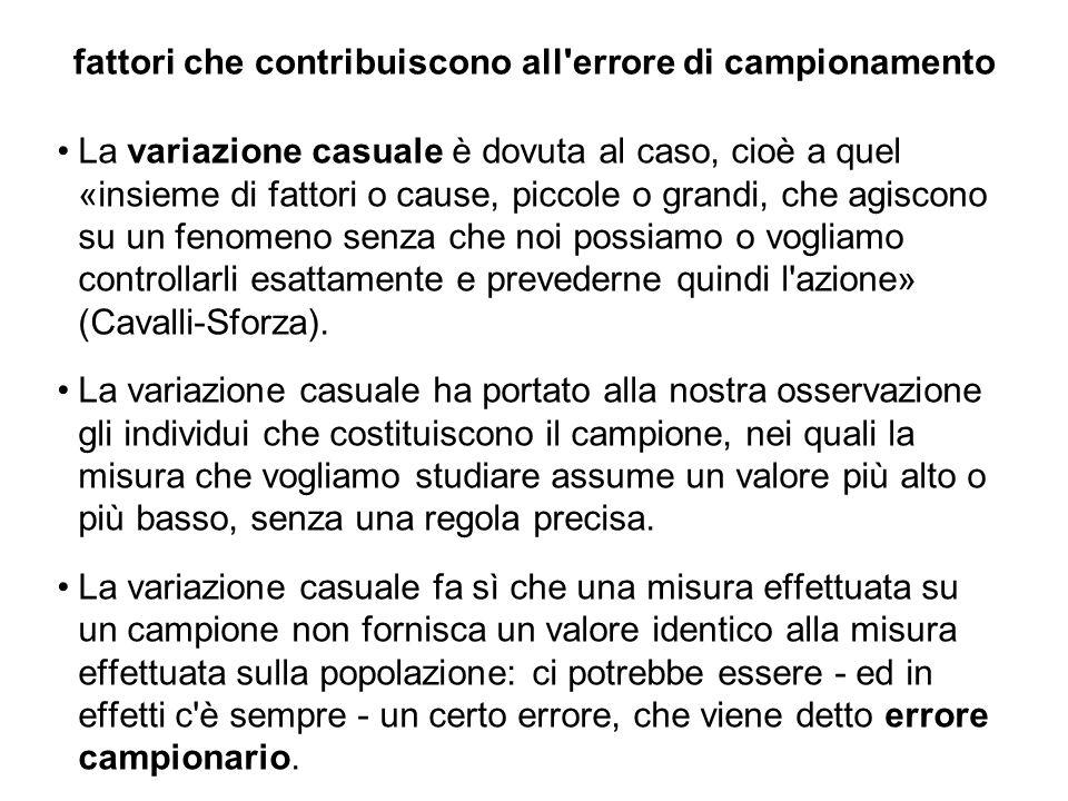 fattori che contribuiscono all'errore di campionamento La variazione casuale è dovuta al caso, cioè a quel «insieme di fattori o cause, piccole o gran