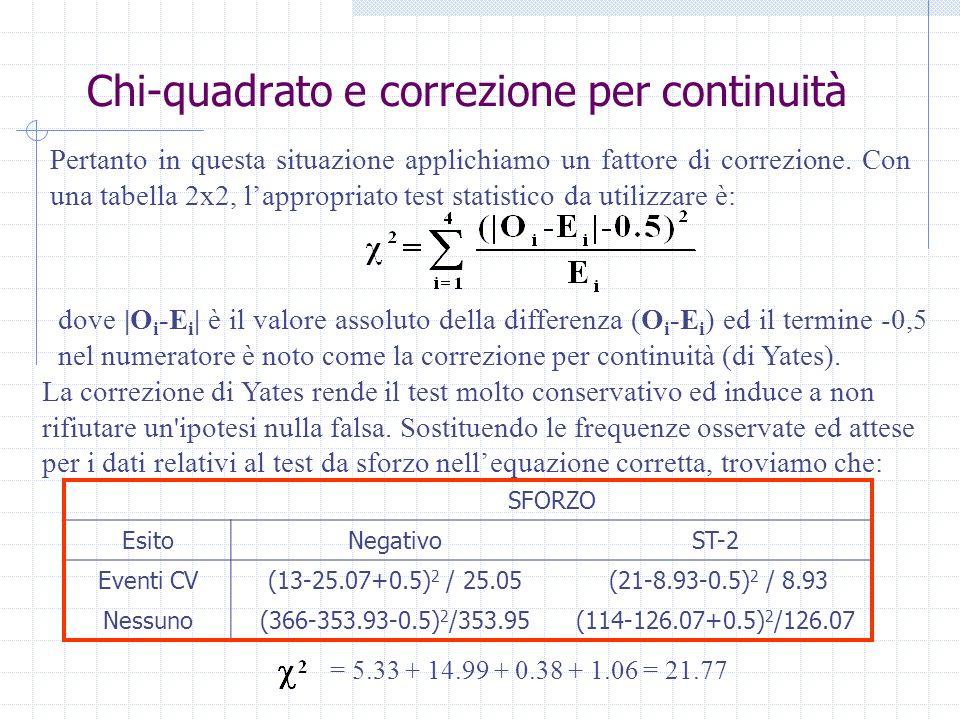Chi-quadrato e correzione per continuità Pertanto in questa situazione applichiamo un fattore di correzione. Con una tabella 2x2, lappropriato test st