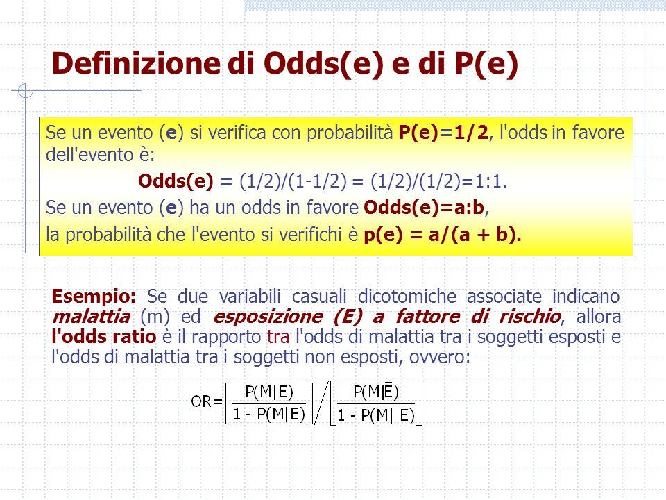 Definizione di Odds(e) e di P(e) Se un evento (e) si verifica con probabilità P(e)=1/2, l'odds in favore dell'evento è: Odds(e) = (1/2)/(1-1/2) = (1/2