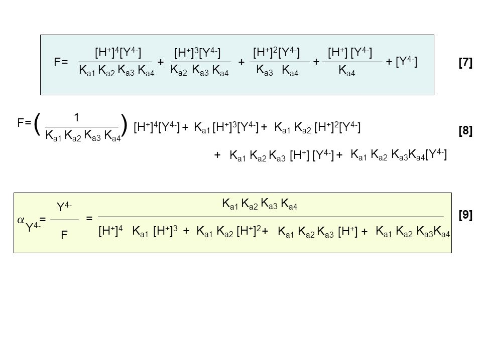 F= K a4 [H + ] 4 [Y 4- ] K a3 K a1 K a2 [H + ] 3 K a4 [Y 4- ] K a3 K a2 [H + ] 2 K a4 [Y 4- ] K a3 [H + ] K a4 [Y 4- ] + + ++ Y 4- F = F= K a4 1 K a3