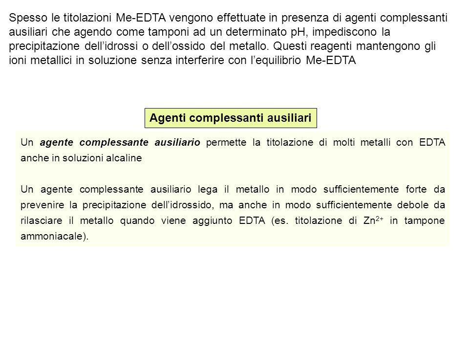 Spesso le titolazioni Me-EDTA vengono effettuate in presenza di agenti complessanti ausiliari che agendo come tamponi ad un determinato pH, impediscon