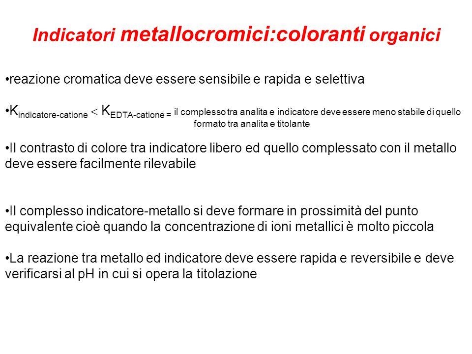 Indicatori metallocromici:coloranti organici reazione cromatica deve essere sensibile e rapida e selettiva K indicatore-catione K EDTA-catione = il co