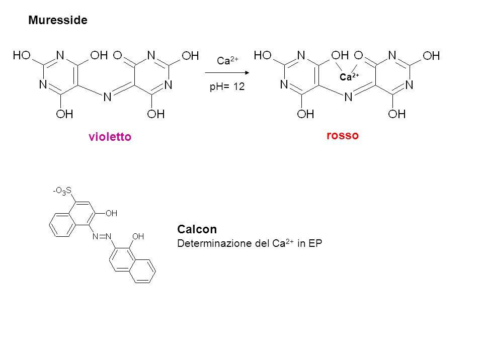 Muresside Ca 2+ pH= 12 Ca 2+ violetto rosso Calcon Determinazione del Ca 2+ in EP