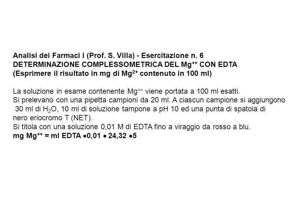 Analisi dei Farmaci I (Prof. S. Villa) - Esercitazione n. 6 DETERMINAZIONE COMPLESSOMETRICA DEL Mg ++ CON EDTA (Esprimere il risultato in mg di Mg 2+