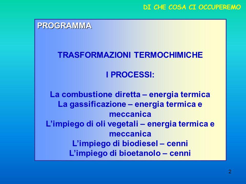 2 DI CHE COSA CI OCCUPEREMO PROGRAMMA TRASFORMAZIONI TERMOCHIMICHE I PROCESSI: La combustione diretta – energia termica La gassificazione – energia termica e meccanica Limpiego di oli vegetali – energia termica e meccanica Limpiego di biodiesel – cenni Limpiego di bioetanolo – cenni