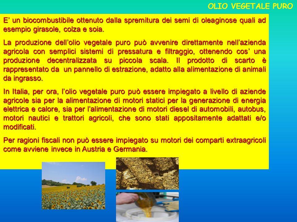 E un biocombustibile ottenuto dalla spremitura dei semi di oleaginose quali ad esempio girasole, colza e soia. La produzione dellolio vegetale puro pu
