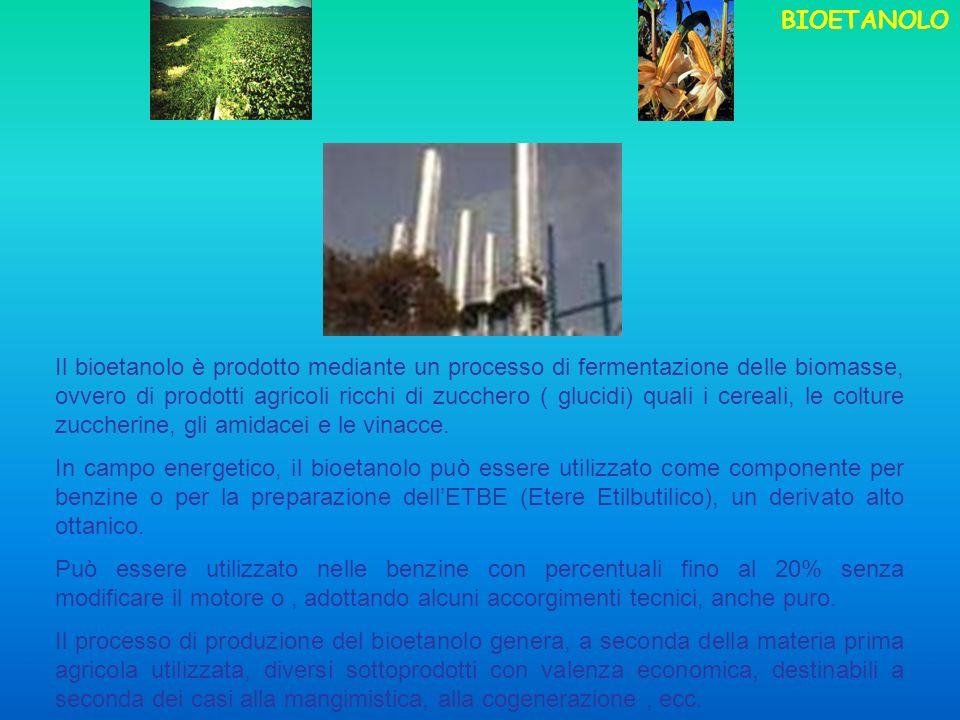 Il bioetanolo è prodotto mediante un processo di fermentazione delle biomasse, ovvero di prodotti agricoli ricchi di zucchero ( glucidi) quali i cereali, le colture zuccherine, gli amidacei e le vinacce.